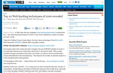 http://www.networkworld.com/news/2011/012411-top-web-hacking-techniques.html