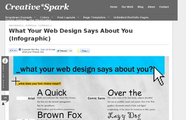 http://creativespark.wpthemes.digitonik.com/2010/12/15/what-your-web-design-says-about-you-infographic/