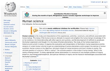 http://en.wikipedia.org/wiki/Human_science