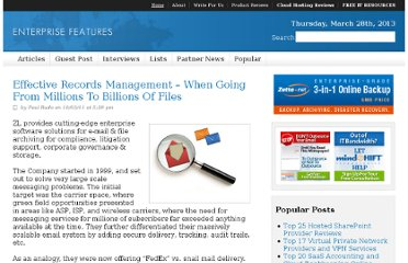 http://enterprisefeatures.com/2011/03/effective-records-management-when-going-from-millions-to-billions-of-files/