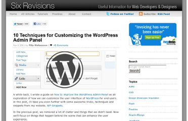 http://sixrevisions.com/wordpress/10-techniques-for-customizing-the-wordpress-admin-panel/