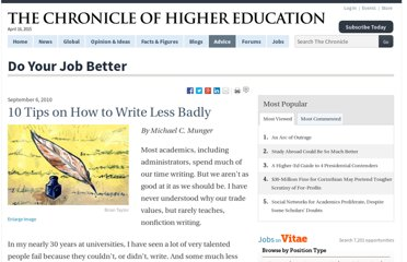 http://chronicle.com/article/10-Tips-on-How-to-Write-Less/124268/