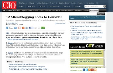 http://www.cio.com/article/509433/12_Microblogging_Tools_to_Consider