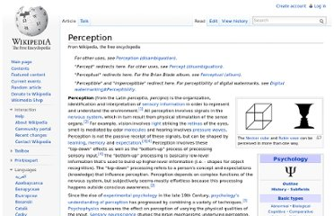 http://en.wikipedia.org/wiki/Perception