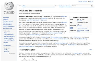 http://en.wikipedia.org/wiki/Richard_Herrnstein