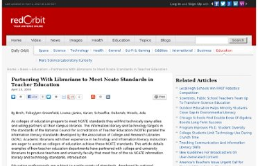 http://www.redorbit.com/news/education/1339002/partnering_with_librarians_to_meet_ncate_standards_in_teacher_education/