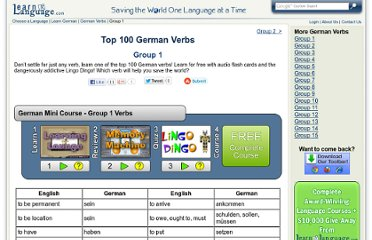 http://www.learnalanguage.com/learn-german/german-verbs/group-1.php