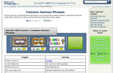 http://www.learnalanguage.com/learn-german/german-phrases/common-german-phrases.php