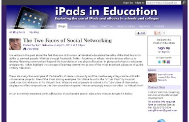 http://ipadeducators.ning.com/profiles/blogs/the-two-faces-of-social