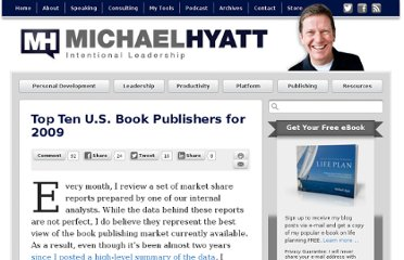 http://michaelhyatt.com/top-ten-u-s-book-publishers-for-2009.html