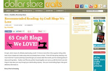 http://dollarstorecrafts.com/2011/04/recommended-reading-65-craft-blogs-we-love/