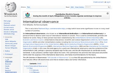 http://en.wikipedia.org/wiki/International_observance#March