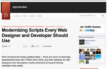 http://spyrestudios.com/modernizing-scripts-every-web-designer-and-developer-should-use/