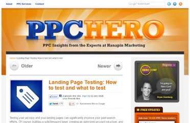 http://www.ppchero.com/landing-page-testing-how-to-test-and-what-to-test/