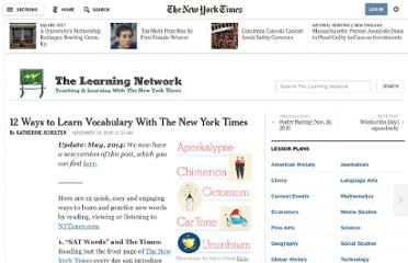 http://learning.blogs.nytimes.com/2010/11/18/12-ways-to-learn-vocabulary-with-the-new-york-times/