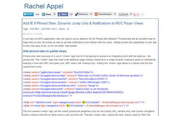 http://rachelappel.com/add-ie-9-pinned-sites-dynamic-jump-lists-notifications-to-mvc-razor-views