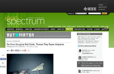 http://spectrum.ieee.org/automaton/robotics/medical-robots/da-vinci-surgical-bot-folds-throws-tiny-paper-airplane