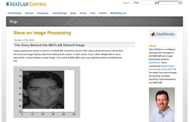 http://blogs.mathworks.com/steve/2006/10/17/the-story-behind-the-matlab-default-image/