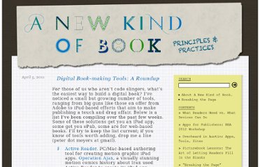 http://newkindofbook.com/2011/04/digital-bookmaking-tools-a-roundup/