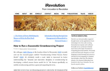 http://irevolution.net/2010/05/05/towards-a-model-for-successful-crowdsourcing/