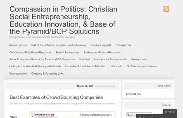 http://compassioninpolitics.wordpress.com/2011/03/12/best-examples-of-crowdsourcing-companies/
