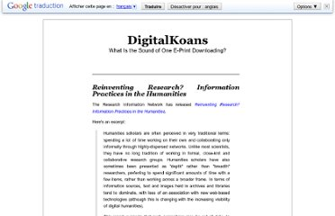 http://digital-scholarship.org/digitalkoans/2011/04/05/reinventing-research-information-practices-in-the-humanities/