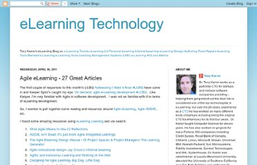 http://elearningtech.blogspot.com/2011/04/agile-elearning-27-great-articles.html