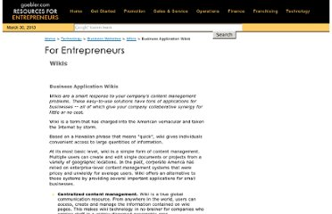 http://www.gaebler.com/Business-Application-Wikis.htm