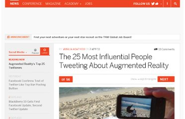 http://thenextweb.com/socialmedia/2011/04/07/the-25-most-influential-people-tweeting-about-augmented-reality/