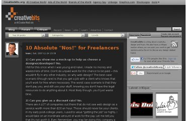 http://creativebits.org/10_absolute_nos_for_freelancers