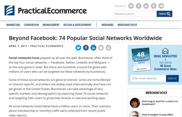 http://www.practicalecommerce.com/articles/2701-Beyond-Facebook-74-Popular-Social-Networks-Worldwide