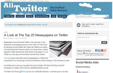 http://www.mediabistro.com/alltwitter/a-look-at-the-top-25-newspapers-on-twitter_b6730