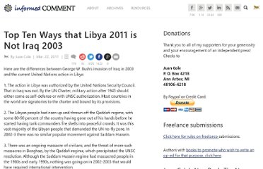http://www.juancole.com/2011/03/top-ten-ways-that-libya-2011-is-not-iraq-2003.html