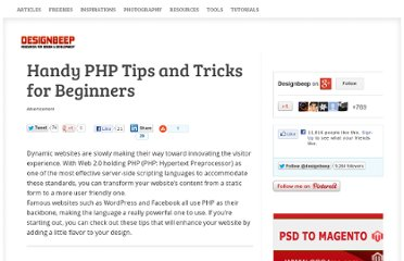 http://designbeep.com/2011/04/07/handy-php-tips-and-tricks-for-beginners/