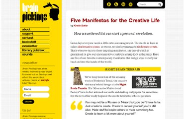 http://www.brainpickings.org/index.php/2011/04/08/five-manifestos-for-life/