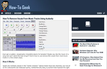 http://www.howtogeek.com/56335/how-to-remove-vocals-from-music-tracks-using-audacity/