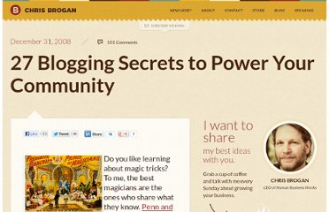 http://www.chrisbrogan.com/27-blogging-secrets-to-power-your-community/