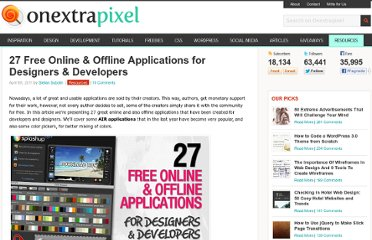 http://www.onextrapixel.com/2011/04/08/27-free-online-offline-applications-for-designers-developers/