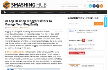 http://smashinghub.com/20-top-desktop-blogger-editors-to-manage-your-blog-easily.htm