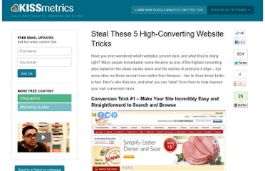http://blog.kissmetrics.com/high-converting-website-tricks/