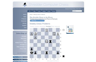 http://www.shredderchess.com/weekly-chess-problems.html
