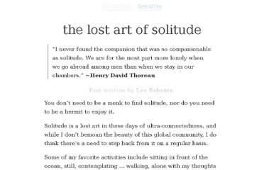 http://zenhabits.net/solitude/
