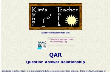 http://www.kimskorner4teachertalk.com/readingliterature/readingstrategies/QAR.htm