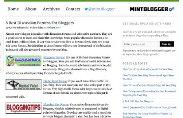 http://www.mintblogger.com/2008/10/10-best-discussion-forums-for-bloggers.html