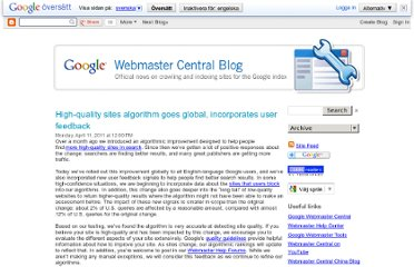 http://googlewebmastercentral.blogspot.com/2011/04/high-quality-sites-algorithm-goes.html