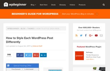 http://www.wpbeginner.com/wp-themes/how-to-style-each-wordpress-post-differently/