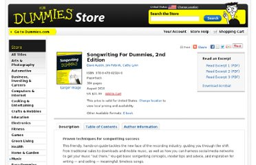 http://www.dummies.com/store/product/Songwriting-For-Dummies-2nd-Edition.productCd-0470615141.html