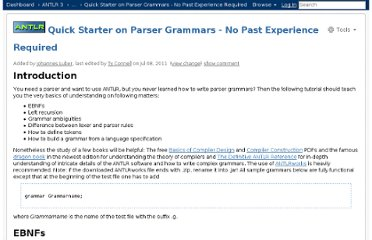 http://www.antlr.org/wiki/display/ANTLR3/Quick+Starter+on+Parser+Grammars+-+No+Past+Experience+Required