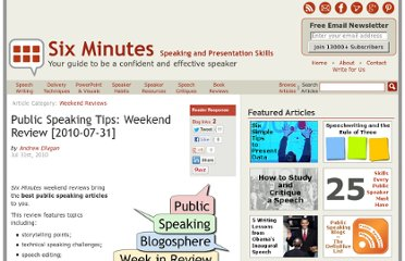 http://sixminutes.dlugan.com/public-speaking-tips-20100731/
