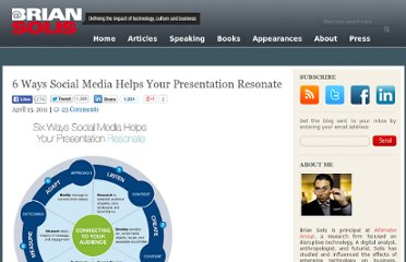http://www.briansolis.com/2011/04/6-ways-social-media-helps-your-presentation-resonate/